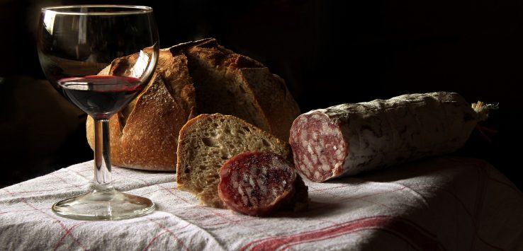 bread, wine, and cured meat